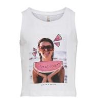 Υφασμάτινα Κορίτσι Αμάνικα / T-shirts χωρίς μανίκια Only KONLANA Άσπρο
