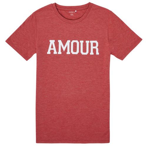 Υφασμάτινα Κορίτσι T-shirt με κοντά μανίκια Name it NKFTHULIPPA Red