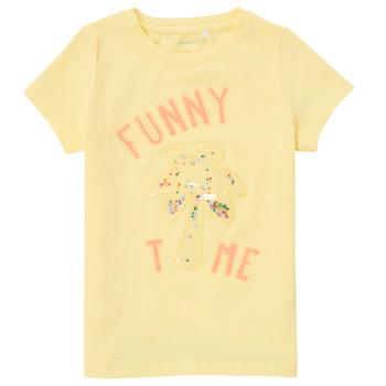 Υφασμάτινα Κορίτσι T-shirt με κοντά μανίκια Name it NMFFEFA Yellow