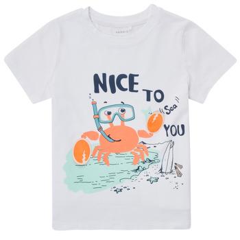 Υφασμάτινα Αγόρι T-shirt με κοντά μανίκια Name it NMMFANO Άσπρο