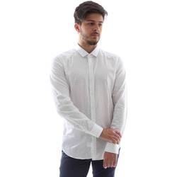 Υφασμάτινα Άνδρας Πουκάμισα με μακριά μανίκια Gmf FS15 961138/1 λευκό