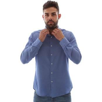 Υφασμάτινα Άνδρας Πουκάμισα με μακριά μανίκια Gmf 961414/5 Μπλε
