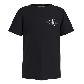 Υφασμάτινα Αγόρι T-shirt με κοντά μανίκια Calvin Klein Jeans CHEST MONOGRAM TOP Black