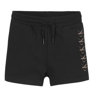 Υφασμάτινα Κορίτσι Σόρτς / Βερμούδες Calvin Klein Jeans CK REPEAT FOIL KNIT SHORTS Black