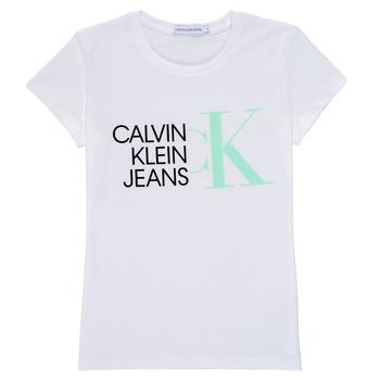 Υφασμάτινα Κορίτσι T-shirt με κοντά μανίκια Calvin Klein Jeans HYBRID LOGO SLIM T-SHIRT Άσπρο