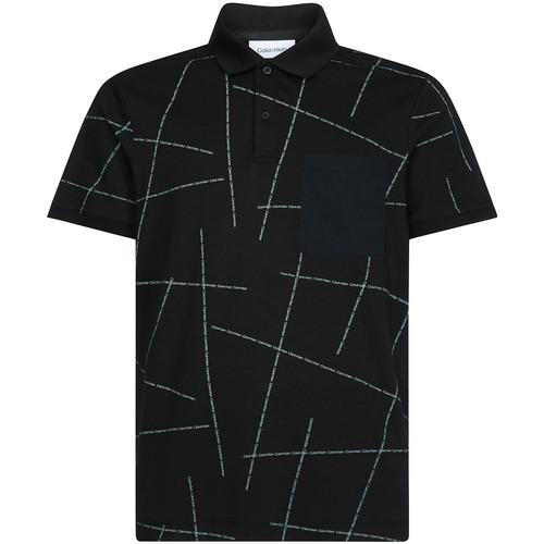 Υφασμάτινα Άνδρας Πόλο με κοντά μανίκια  Calvin Klein Jeans K10K105189 Μαύρος