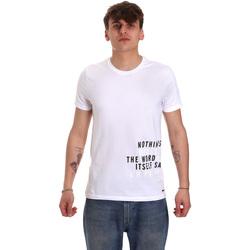 Υφασμάτινα Άνδρας T-shirt με κοντά μανίκια Gaudi 011BU64071 λευκό