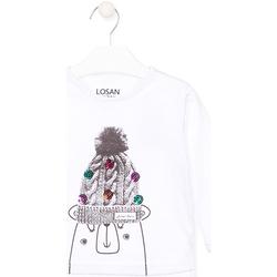Υφασμάτινα Παιδί Μπλουζάκια με μακριά μανίκια Losan 026-1007AL λευκό