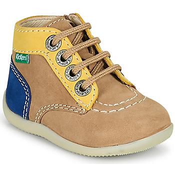 Παπούτσια Αγόρι Μπότες Kickers BONZIP-2 Beige / Yellow / Marine