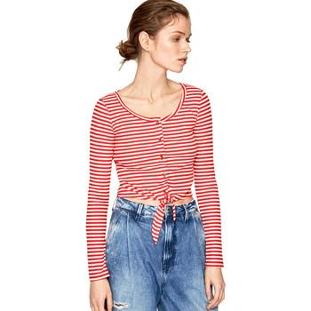 Υφασμάτινα Γυναίκα Μπλουζάκια με μακριά μανίκια Pepe jeans PL504453 το κόκκινο
