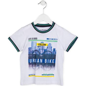 Υφασμάτινα Αγόρι T-shirt με κοντά μανίκια Losan 715 1013AC λευκό