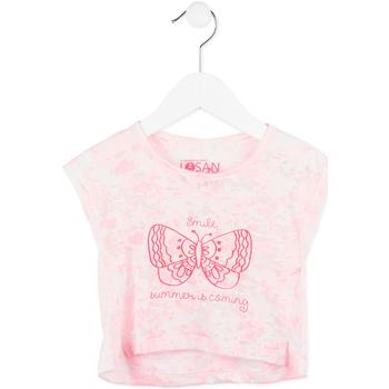 Υφασμάτινα Κορίτσι T-shirt με κοντά μανίκια Losan 716 1011AD Ροζ