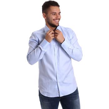 Υφασμάτινα Άνδρας Πουκάμισα με μακριά μανίκια Gmf 972903/02 Μπλε