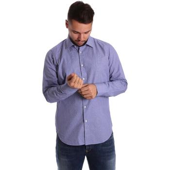 Υφασμάτινα Άνδρας Πουκάμισα με μακριά μανίκια Gmf 972160/04 Μπλε