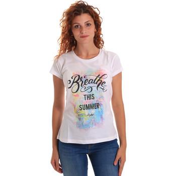 Υφασμάτινα Γυναίκα T-shirt με κοντά μανίκια Key Up 5D59S 0001 λευκό