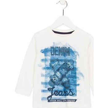 Υφασμάτινα Παιδί Μπλουζάκια με μακριά μανίκια Losan 725 1000AC λευκό
