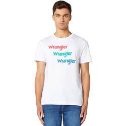 Υφασμάτινα Άνδρας T-shirt με κοντά μανίκια Wrangler W7D7D3989 λευκό