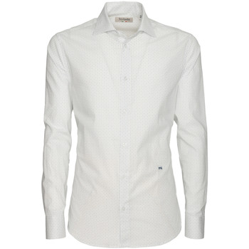 Υφασμάτινα Άνδρας Πουκάμισα με μακριά μανίκια NeroGiardini P873051U λευκό