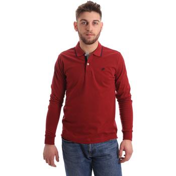 Υφασμάτινα Άνδρας Πόλο με μακριά μανίκια  Key Up 2RG71 0001 το κόκκινο