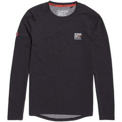 Υφασμάτινα Άνδρας Μπλουζάκια με μακριά μανίκια Superdry MS3002RR Μαύρος