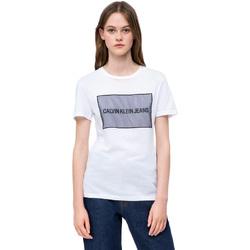 Υφασμάτινα Γυναίκα T-shirt με κοντά μανίκια Calvin Klein Jeans J20J208606 λευκό