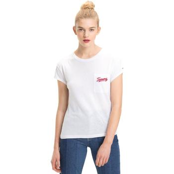 Υφασμάτινα Γυναίκα T-shirt με κοντά μανίκια Tommy Hilfiger DW0DW05385 λευκό