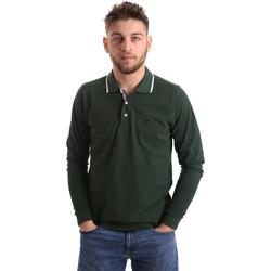 Υφασμάτινα Άνδρας Πόλο με μακριά μανίκια  Key Up 2L711 0001 Πράσινος