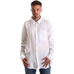 Υφασμάτινα Άνδρας Πουκάμισα με μακριά μανίκια Navigare NV92067 BD λευκό