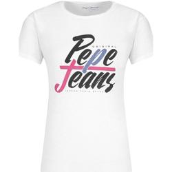 Υφασμάτινα Γυναίκα T-shirt με κοντά μανίκια Pepe jeans PL503967 λευκό