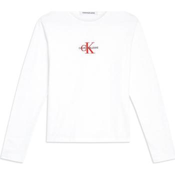 Υφασμάτινα Γυναίκα Μπλουζάκια με μακριά μανίκια Calvin Klein Jeans J20J211804 λευκό