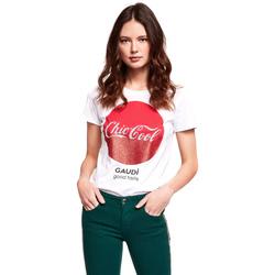 Υφασμάτινα Γυναίκα T-shirt με κοντά μανίκια Gaudi 921BD64047 λευκό