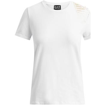 Υφασμάτινα Γυναίκα T-shirt με κοντά μανίκια Ea7 Emporio Armani 6GTT07 TJ12Z λευκό