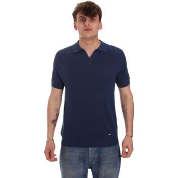Υφασμάτινα Άνδρας Πόλο με μακριά μανίκια  Gaudi 011BU53010 Μπλε