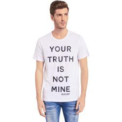 Υφασμάτινα Άνδρας T-shirt με κοντά μανίκια Gaudi 011BU64107 λευκό