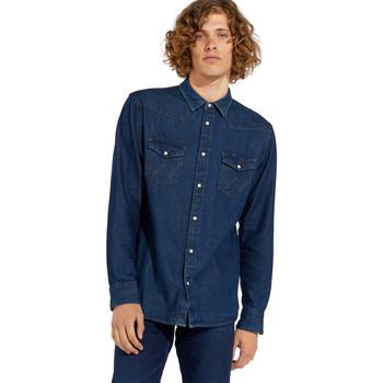 Υφασμάτινα Άνδρας Πουκάμισα με μακριά μανίκια Wrangler W5MSLW301 Μπλε