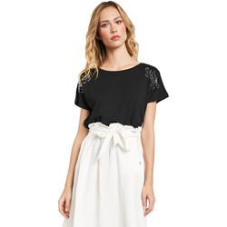 Υφασμάτινα Γυναίκα T-shirt με κοντά μανίκια Gaudi 011FD64022 Μαύρος