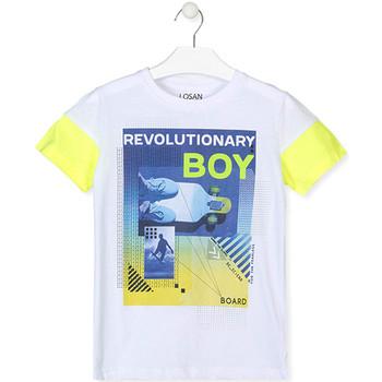 Υφασμάτινα Αγόρι T-shirt με κοντά μανίκια Losan 013-1006AL λευκό