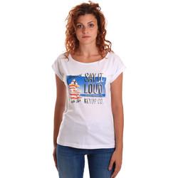 Υφασμάτινα Γυναίκα T-shirt με κοντά μανίκια Key Up 5D72S 0001 λευκό