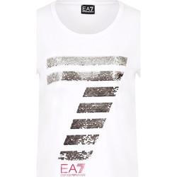 Υφασμάτινα Γυναίκα T-shirt με κοντά μανίκια Ea7 Emporio Armani 3HTT41 TJ12Z λευκό