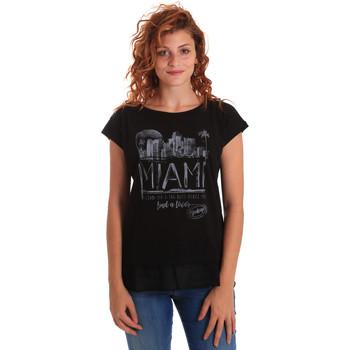 Υφασμάτινα Γυναίκα T-shirt με κοντά μανίκια Key Up 5Z10S 0001 Μαύρος