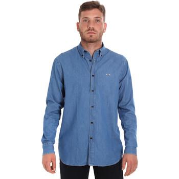 Υφασμάτινα Άνδρας Πουκάμισα με μακριά μανίκια Les Copains 9U2361 Μπλε