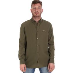 Υφασμάτινα Άνδρας Πουκάμισα με μακριά μανίκια Les Copains 9U2371 Πράσινος