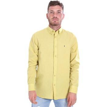 Υφασμάτινα Άνδρας Πουκάμισα με μακριά μανίκια Les Copains 9U2371 Κίτρινος