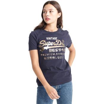 Υφασμάτινα Γυναίκα T-shirt με κοντά μανίκια Superdry W1010049A Μπλε