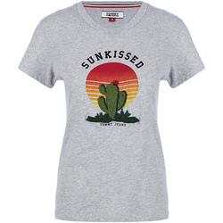 Υφασμάτινα Γυναίκα T-shirt με κοντά μανίκια Tommy Hilfiger DW0DW04671 Γκρί