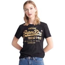 Υφασμάτινα Γυναίκα T-shirt με κοντά μανίκια Superdry W1010090A Μαύρος