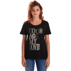 Υφασμάτινα Γυναίκα T-shirt με κοντά μανίκια Key Up 5Z19S 0001 Μαύρος