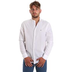 Υφασμάτινα Άνδρας Πουκάμισα με μακριά μανίκια Les Copains 9U2722 λευκό
