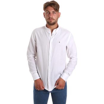 Υφασμάτινα Άνδρας Πουκάμισα με μακριά μανίκια Les Copains 9U2371 λευκό