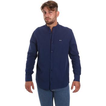 Υφασμάτινα Άνδρας Πουκάμισα με μακριά μανίκια Les Copains 9U2722 Μπλε